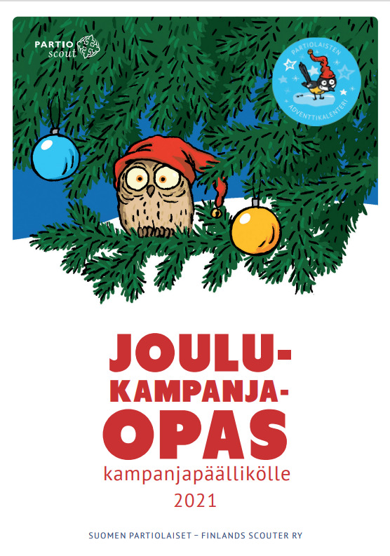 Kuva jossa piirretty pöllö ja teksti Joulukampanjaopas kampanjapääliköille