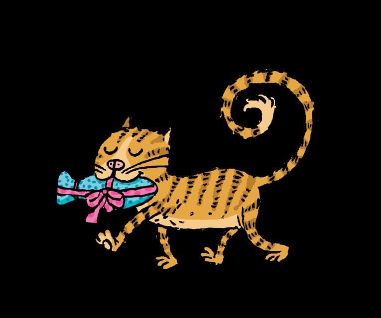 piirretty kissa ja joulupaketti