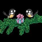 kaksi piirrettyä lintua ja joulupaketti kusuen oksalla