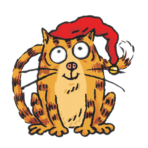 piirretty kissa päässään tonttulakki