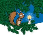 Piirretty orava kynttilän kanssa kuusen oksalla