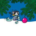 Piirretty lintu kuljettaa joulupakettia lentäen.Taustalla joulukuusen oksa.