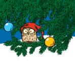 Piirretty kuva, jossa pöllö joulukuusen oksalla