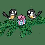 Linnut oksalla lahjapaketin kanssa